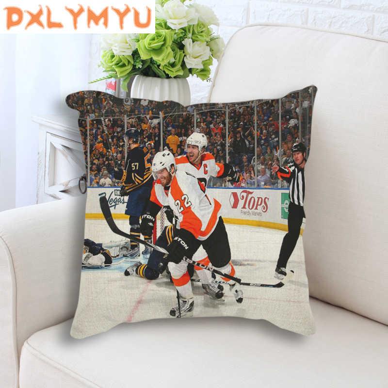 وسادة الزخرفية الحديثة NHL الرياضة صورة الكتان المطبوع وسادة قطن هوكي الجليد المشارك رمي وسادة ل أريكة ديكور المنزل