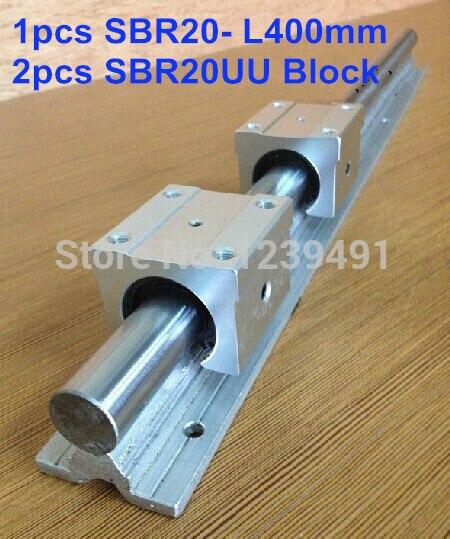 1 pcs SBR20 L400mm linéaire guide + 2 pcs SBR20UU bloc cnc routeur