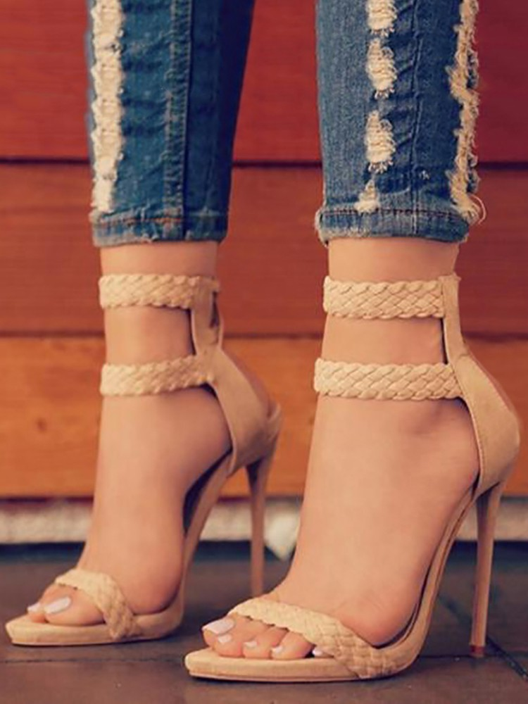 2018 New style women shoes pumps high heels  belt braided foot Ring with thin heel sandals high heels