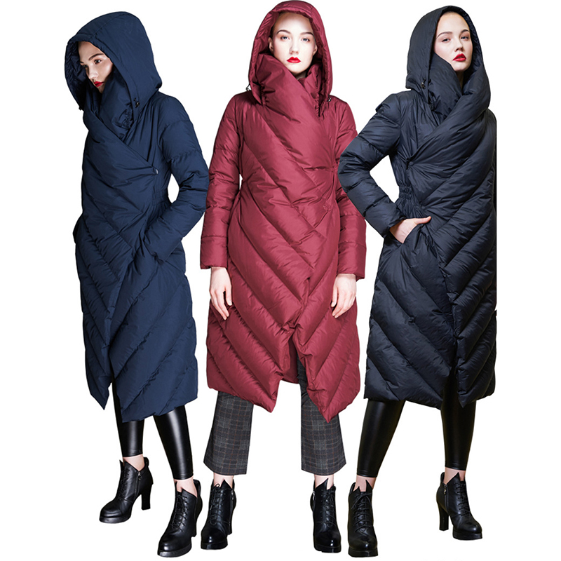 New Women Hooded   Down     Coats   Femael Solid Long Thick Jackets White Duck   Down     Coats   Asymmetric Long Sleeve Outerwear High Street