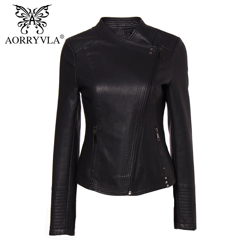 AORRYVLA New Collection PU Leather Jacket Woman Fashion Rivet Black Motorcycle Coat Short Faux Leather Biker