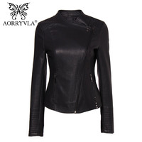 AORRYVLA New Collection PU Leather Jacket Woman Fashion Rivet Black Motorcycle Coat Short Faux Leather Biker Jackets Brands