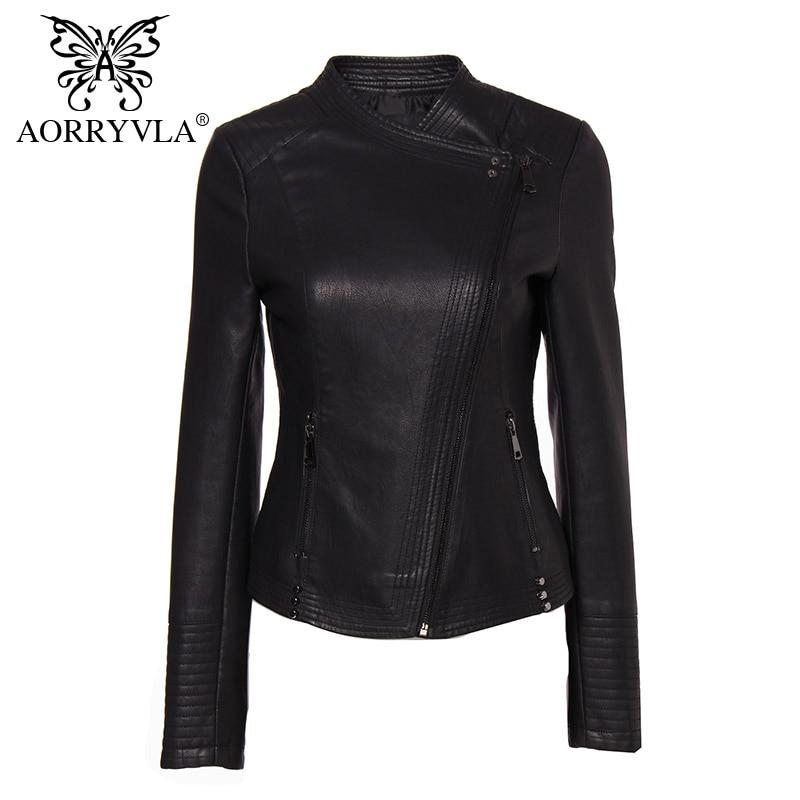 AORRYVLA nouvelle Collection PU cuir veste femme mode Rivet noir moto manteau court Faux cuir Biker vestes marques