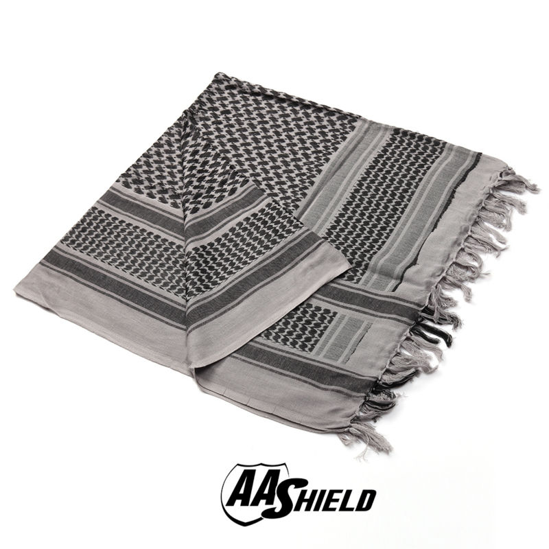 AA Shield Military Arab Lightweight Scarf Desert Tactical Shemagh Army KeffIyeh Outdoor Hunting Scarf Multiple Color  Gray promoting social change in the arab gulf