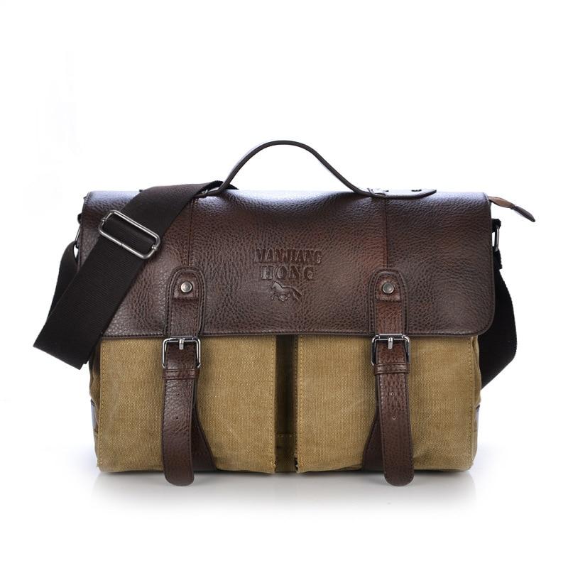 New Computer Bag Men Single Shoulder Bag Vintage Canvas Messenger Bag For Men Crossbody Briefcase Messenger