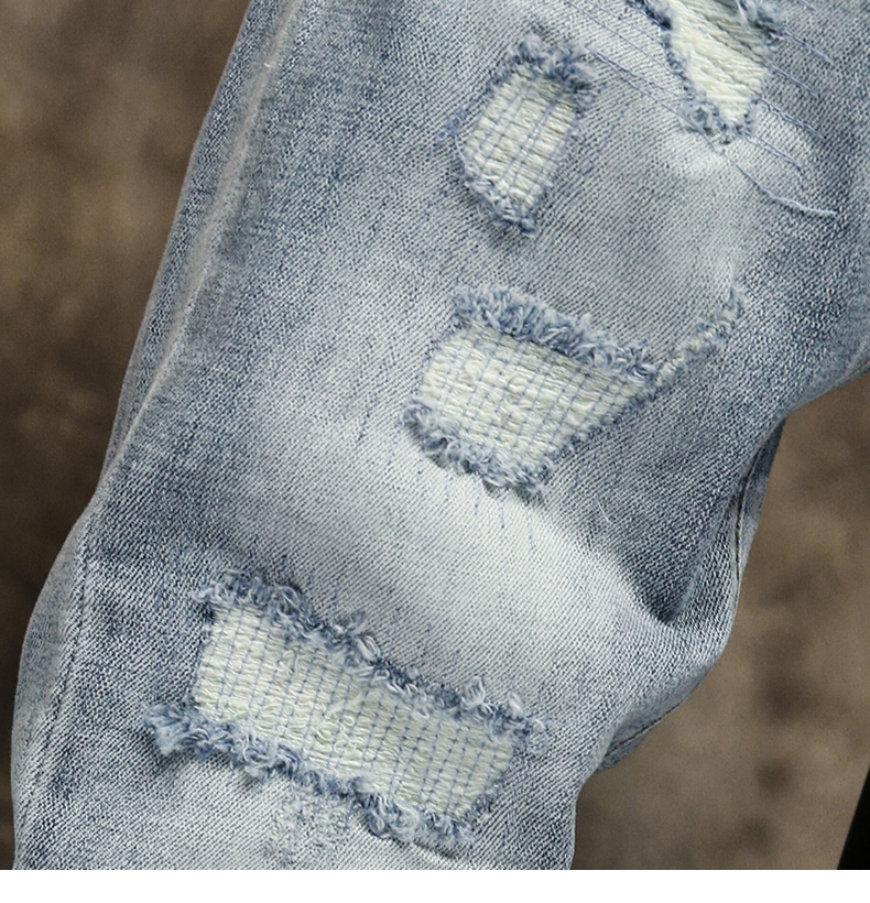 Ripped Jeans for Men Skinny Light Blue Gray Stretch Slim Leg Streetwear Distressed Moto Biker Jeans Male Denim Pants Hip Hop 16
