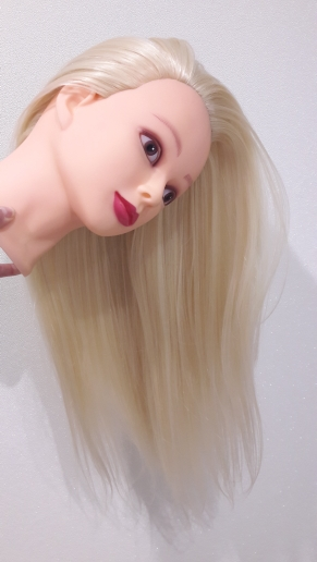 CAMMITEVER Synthetic Hair Hairdressing Training Head Mannequin Blonde 20 Mannequin Head Curly With Makeup
