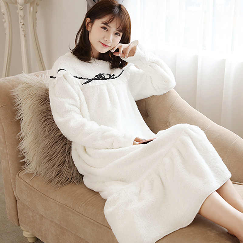 78245d6a1f New coral fleece winter clothes Women Nightgown nightdress long sleeved  Plush sweet princess dress warm Sleepshirts