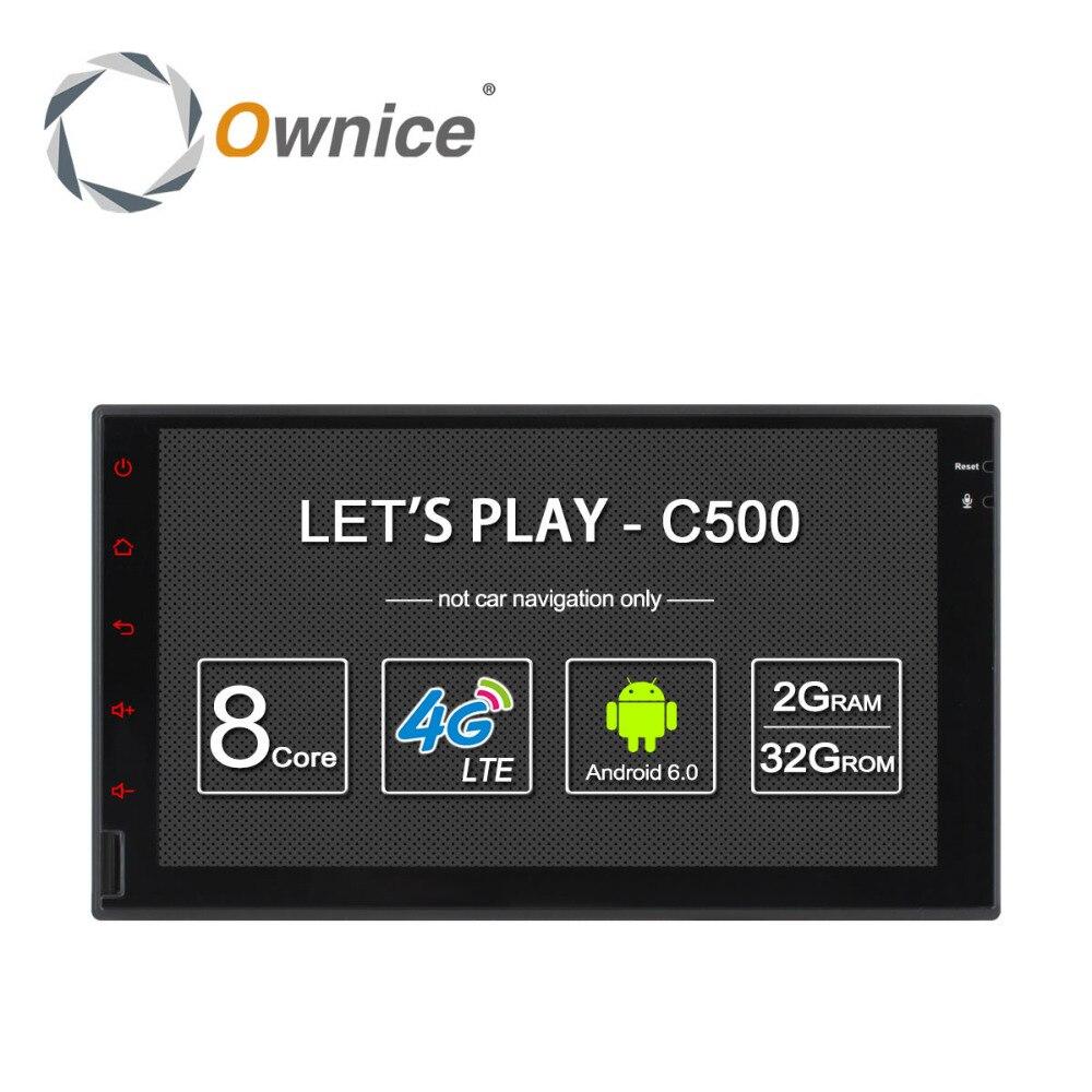 Android 6.0 Octa Core 2 GB RAM 32 GB ROM universel 2 Din lecteur d'autoradio prise en charge 4G carte SIM DAB + DVR TPMS (pas de DVD)