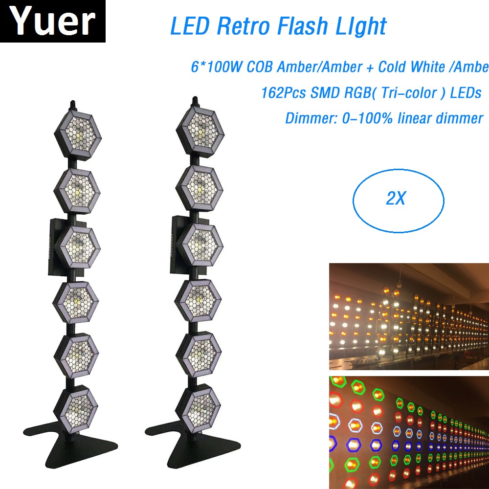 6X100W Amber Six-Line Hexa Pixel Lights DMX 512 Controller Retro Flash Light For Party Disco Holiday Decorations Laser Projector image