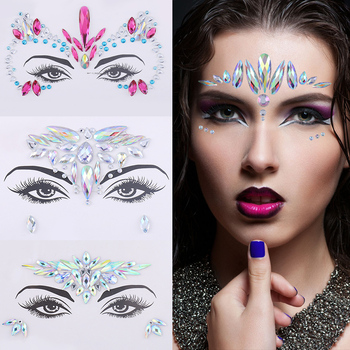 DIY 3D Crystal Glitter face Jewels Tattoo Sticker Women Fashion Gems Gypsy Festival Adornment Music Party Makeup Beauty Stickers