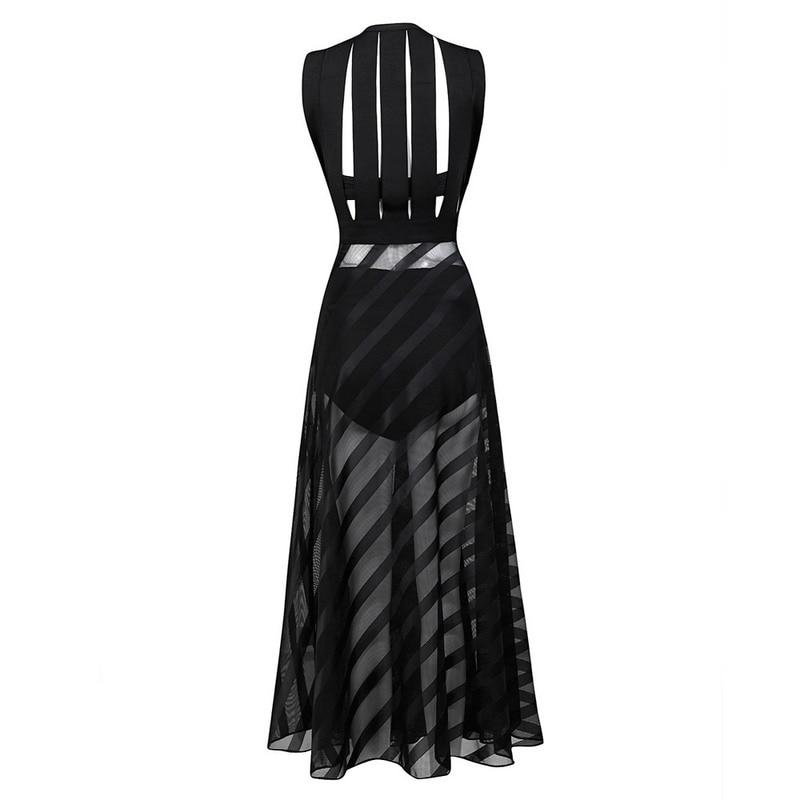 Новейшее HL знаменитостей черное белое длинное облегающее платье без рукавов длинное вечернее благородное платье