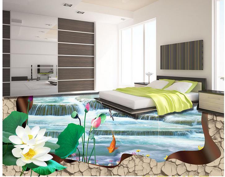 3d floor painting wallpaper Lotus fish carp 3D flooring pvc self-adhesive wallpaper 3d flooring 3d floor painting wallpaper 3d fish play pond jade carving floor pvc self adhesive wallpaper 3d flooring