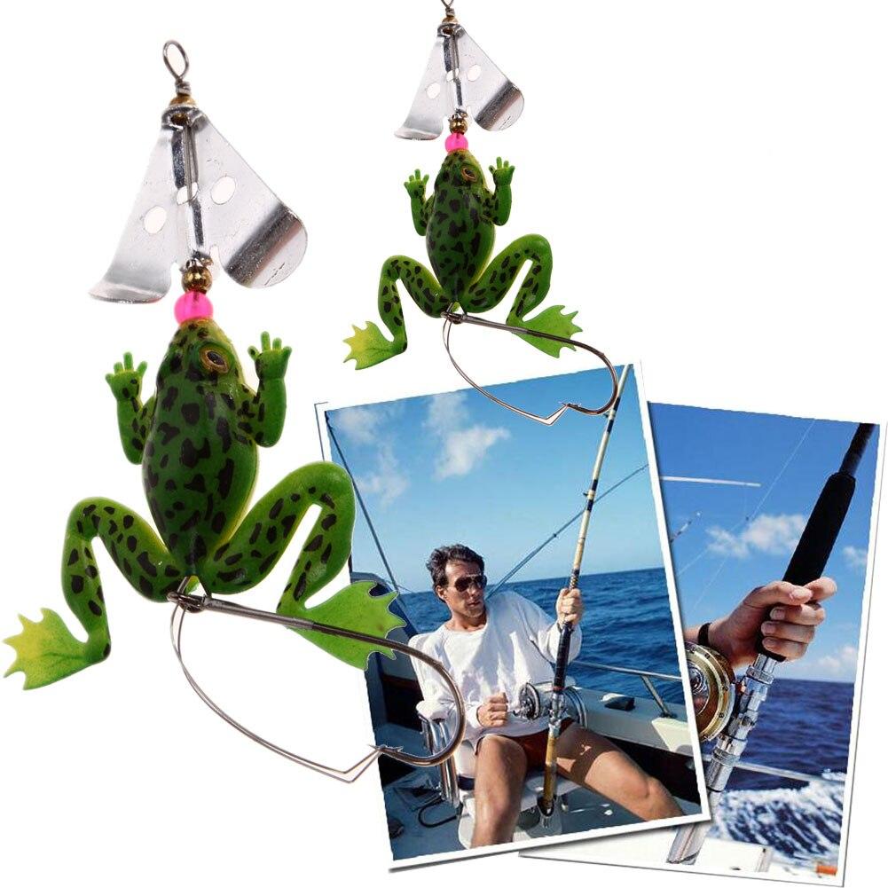4 pz / lotto All Water Fishing Lure Rana Soft Lure 9 cm 6.2g Esca In - Pesca - Fotografia 3