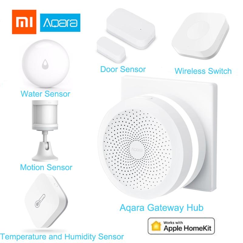Xiaomi Aqara kits casa Inteligente Gateway Hub Porta Janela do Sensor Do Corpo Humano Interruptor Sensor De Água De Temperatura E Umidade Sem Fio Da Apple