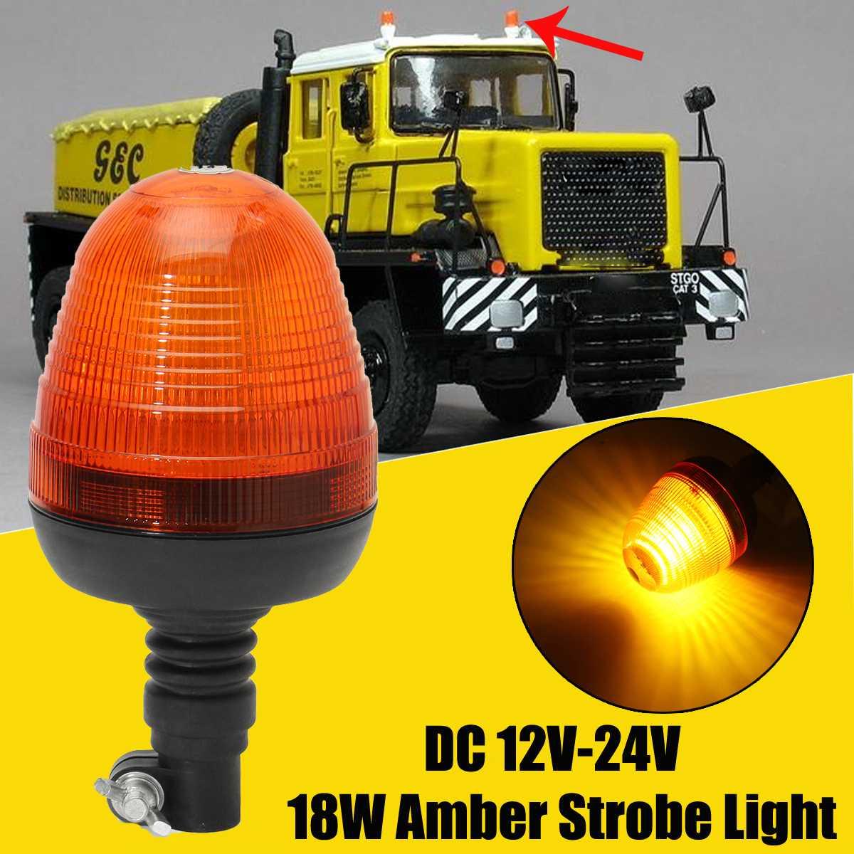 Safurance DC 12V-24V 18W Outdoor LED Strobe Flashing Alarm Lamp Amber Forklift Car Emergency Warning Strobe Rotating LED Light