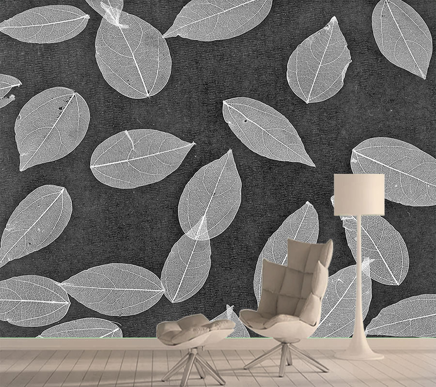 8d Silk Mural Wallpaper 3d Wall Paper Papers Home Decor Wallpapers For Living Room Self Adhesive Black White Leaf Murals Rolls