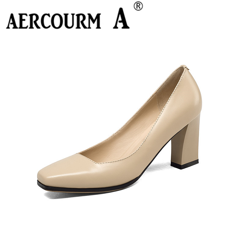 Aercourm A Women Pumps Sexy High Heeled Shoes 2017 Summer Heels Square Toe Platform Shoes Women's Wedding Shoes Size 34-39 H818 taoffen women high heels shoes women thin heeled pumps round toe shoes women platform weeding party sexy footwear size 34 39