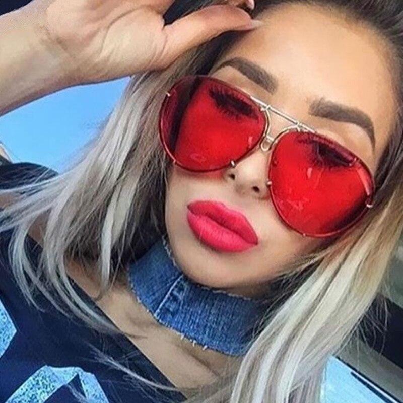 Fashion Round Oversized Sunglasses Men Women Brand Designer Shades Sun Glasses UV400 Male Female Transparent aviation Eyeglasses