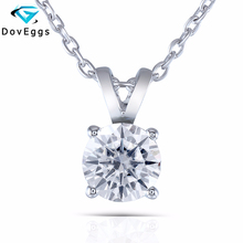 DovEggs Sterling Solid 925 Silver 2ct 8mm Slight Gray Moissanite Pendant Necklace for Women Wedding Gift