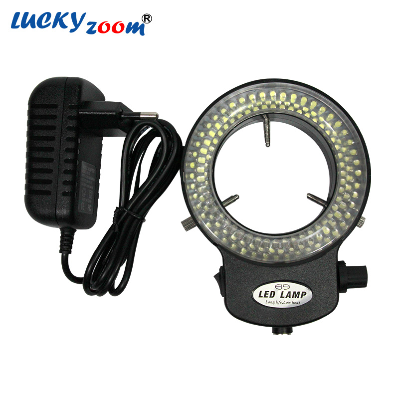 Réglable 144 LED anneau lumière illuminateur lampe pour l'industrie stéréo Microscope AC adaptateur d'alimentation EU/US/RU Plug livraison gratuite