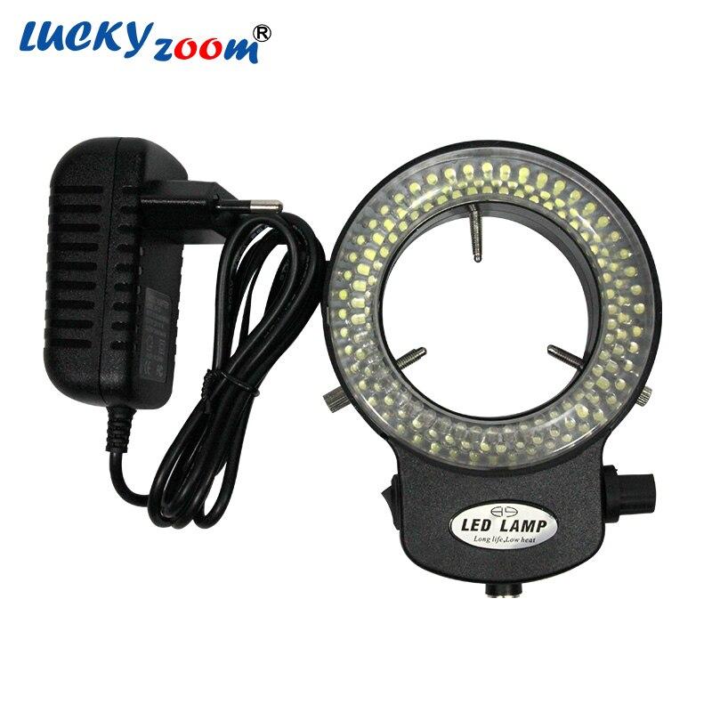 Réglable 144 LED lumière annulaire illuminateur lampe pour l'industrie Microscope stéréo adaptateur secteur ca prise ue/US/RU livraison gratuite