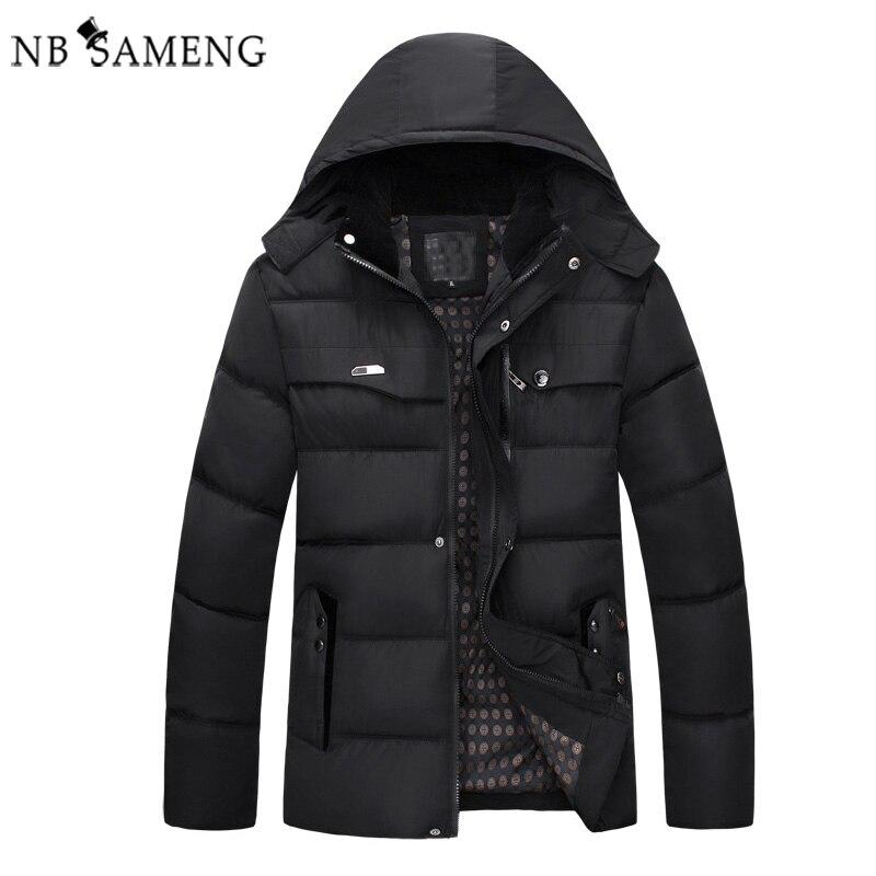 ФОТО New 2017 Men Winter Black Jacket Parka Warm Coat With Hood Mens Cotton Padded Jackets  Coats Jaqueta Masculina Plus Size NSWT026