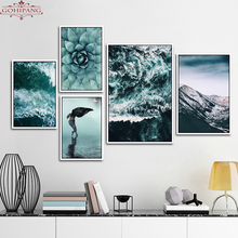 Gohipang Green Sea Nature Plants Mountains Landscapes Set Scenery Canvas Print Painting Poster Art, Wall Decor Home Decoration