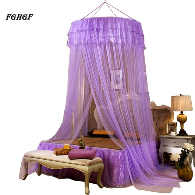 FGHGF Hung Dome Mosquito Nets Elegant Classical romantic sweet princess students Outdoor Round Lace Insect Bed Netting Curtain