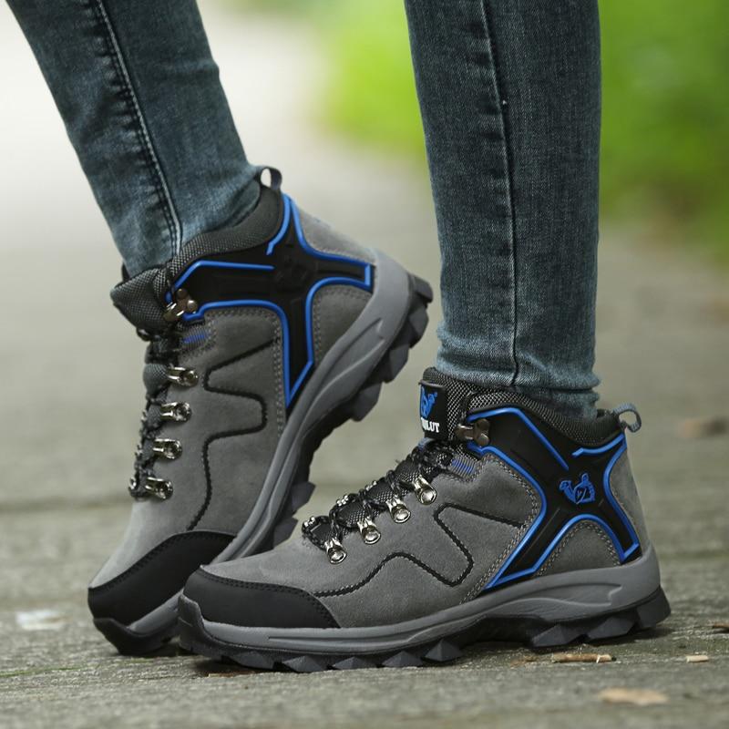 BeiWeiTe Vinter menn turisme Vandring Boots Med Fur Lind Trail Trekking Sneakers For Men Camel Shock-proof Jakt Outdoor Sko