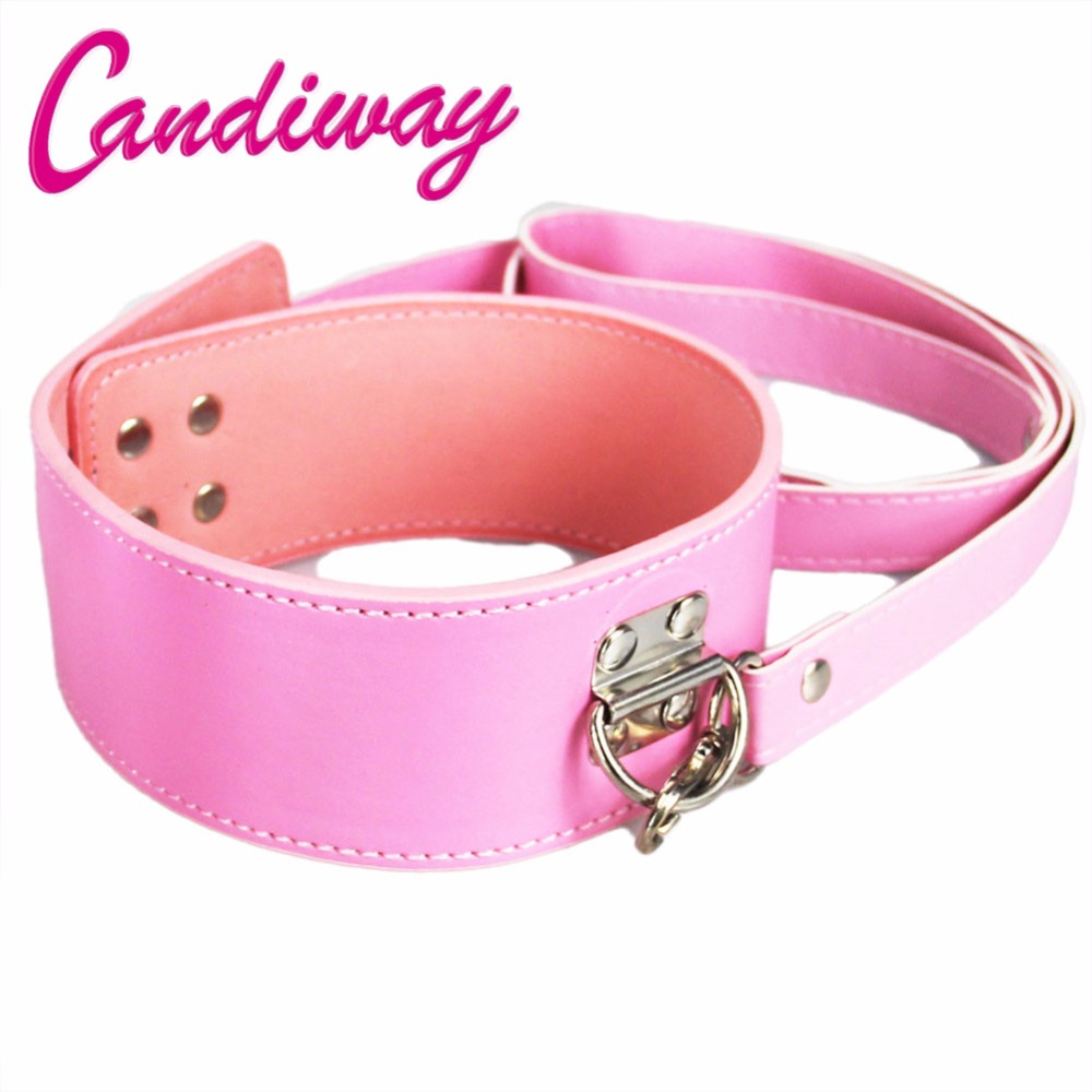 Buy CandiWay Pink Leather lock Bdsm Fetish Bondage Sex Collar Leash Adult Game Collars Sex Toys Slave Collar Erotic Neck Collar