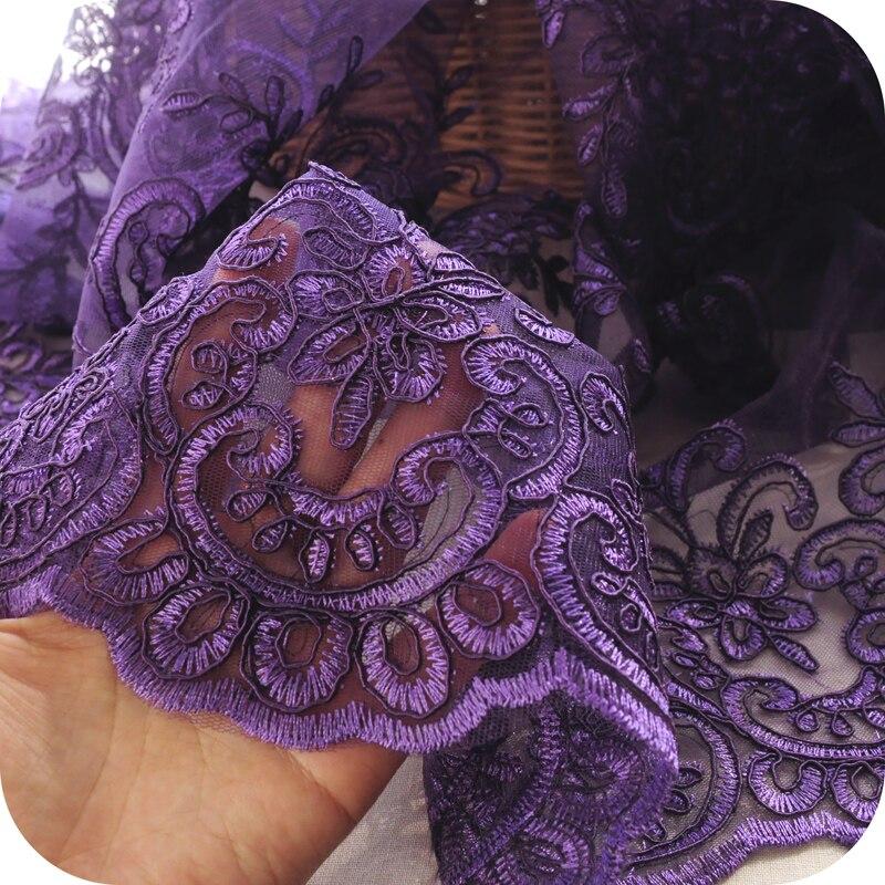 100x130cm violet délicat quille disque fleurs broderie dentelle tissu pour fille tissu maille accessoires à créer soi-même robe de mariée