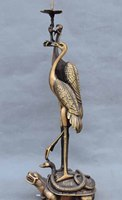 Details about 21China Bronze Red crowned Crane Dragon Turtle Animal Candlestick Candle Holder
