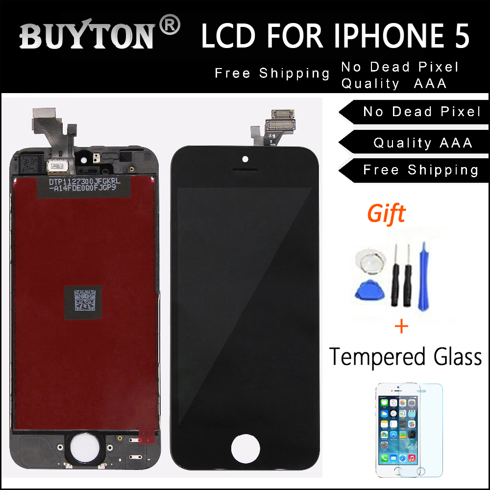 BUYTON AAA+ Quality Black and White Replacement For iPhone 5 5S LCD Digitizer Assembly Glass Touch Screen Display Free Tool Kit