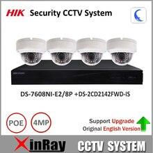 Sistema de Cámaras de Seguridad 1080 P Hikvision Original 8POE DS-7608NI-E2/8 P y Cámara de $ NUMBER MP IP DS-2CD2142FWD-IS Mini Cámara Domo KIT CCTV