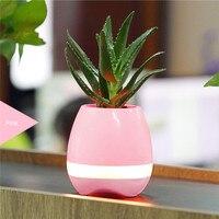 New Arrival Smart Mini Flower Pot Plastic Colorful Light Bluetooth Speaker Flowerpot Plant Pots Decoration With