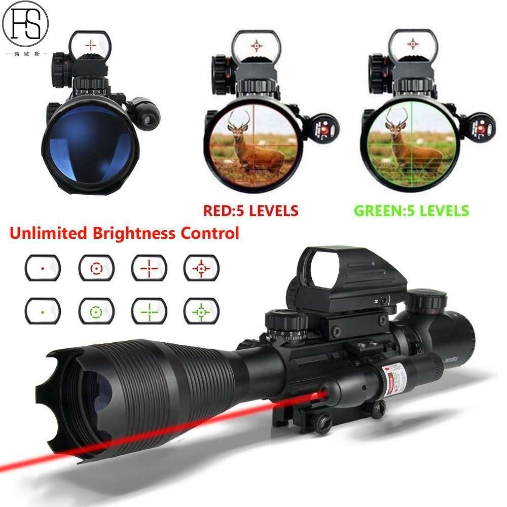 New 4-12X50EG Red Green Illuminated Rifle Scope Hunting Reflex Red/Green Dot 4 Reticle Holographic Projected Sights цена