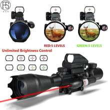 New 4-12X50EG Red Green Illuminated Rifle Scope Hunting Reflex Red/Green Dot 4 Reticle Holographic Projected Sights