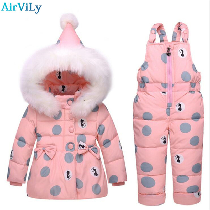 Winter Down Jackets For Boys Girls Kids Snowsuit Children Clothes Baby Warm Outerwear Coat+Pant Clothing Set Kids Baby Clothes цена 2017