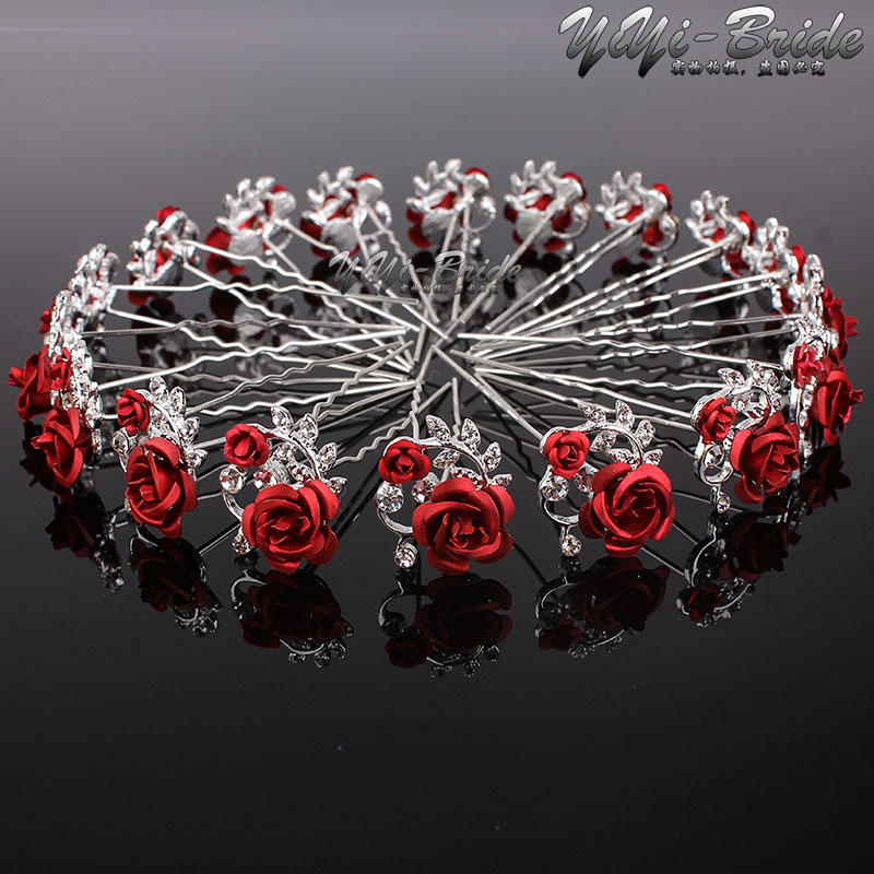 Wholesale 20pcs Red Flower Clear Crystal Rhinestone Women Wedding Bridal Party Hair Accessories HairPins Clips Grip Hair Jewelry