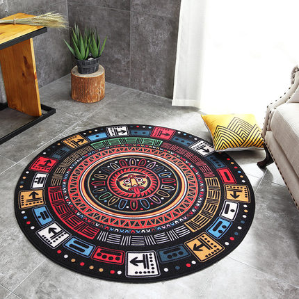 Vintage Mayan Patterned Round Rugs Native Indian Creative Chair Chairs Ottomans