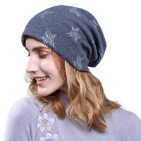 New Ladies Plus Velvet Knitted Hat Winter Casual Men And Women Star Warm Beanies