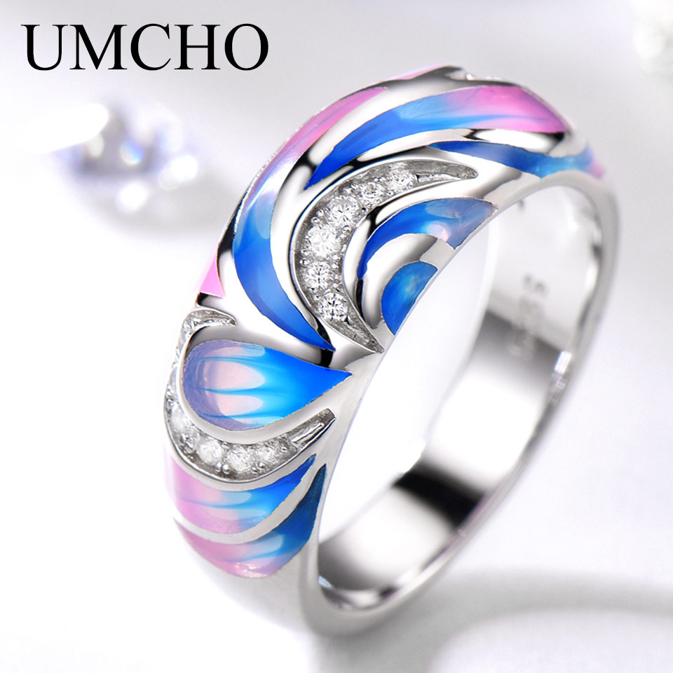 UMCHO 925 Sterling Silver Rings For Women Flower Party Fashion Jewelry Colorful Enamel Handmade Party Wedding Ring Fine Jewelry