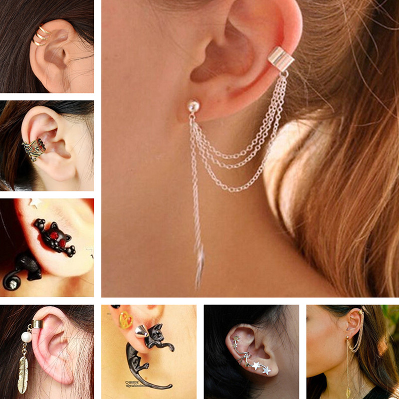 ES10009 Stud Earrings For Women Feather Tassel Cat Star Spider Brincos Ear Cuff Fashion Jewelry 2017