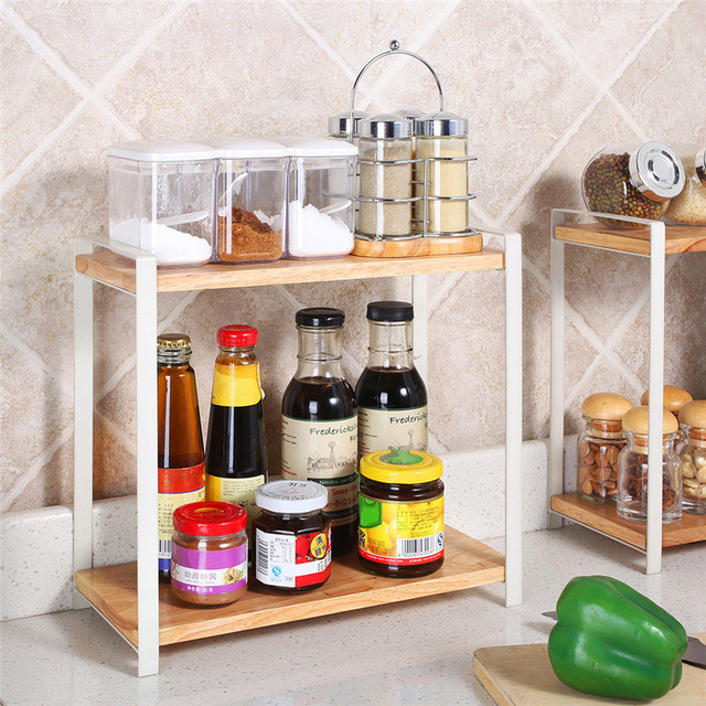 Wooden Kitchen Shelf For Spices Seasoning Bottles Bathroom Storage