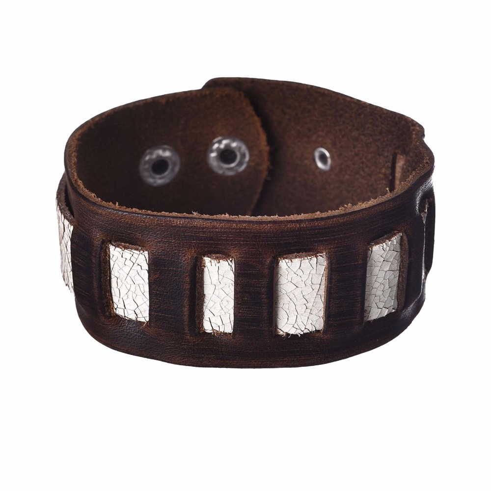 Hot New 2 Snaps Geometry Wide Leather Cuff Bracelet Men Vintage Brown Rope  Bracelets & Bangles