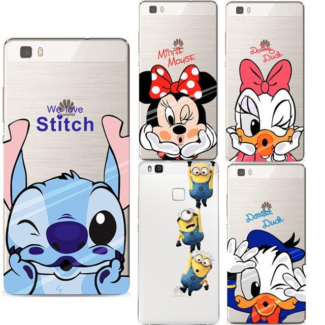 Mickey Minnie Caso Ultra Sottile Molle Del Silicone TPU Copertura Trasparente Coque per Huawei P8 Lite 2017 Casi Fundas P9 P9 lite P10 Capa