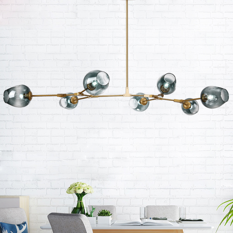 Новый индустриальный Лофт бобовый стебель творческий минималистский Nordic Утюг Книги по искусству стеклянный шар подвесной светильник Гост...