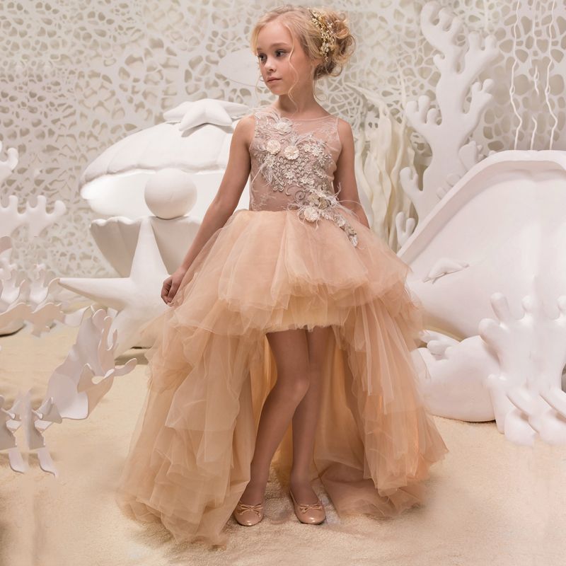 New Arrivals Little Girls Lace Flowers Pearls Sleeveless O-Neck A-line High Low Wedding Flower Girls First Communion Dresses jewel neck sleeveless floral print a line belted dress