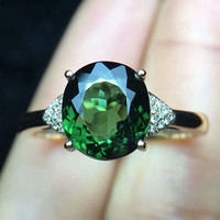 Лидер продаж 18 К золото Природный зеленый турмалин Драгоценное кольцо с бриллиантом для женщин обручальное кольцо 2018 Новый стиль классичес...